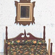 SALE Vintage..NIB..4-Poster Cherry Mahogany Bed With Canopy..Floral Cotton Bedspread