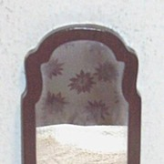 SALE Vintage. 1970's..MIB..Hand-Made Mahogany Oblong Doll House Mirror..Chain Hanger
