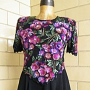Floral Mauve  Beaded Bodice & Sheer Rayon Circle Skirt..Lined..By Laurence Kazar..Excellent Co