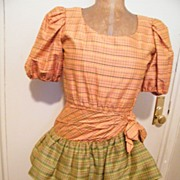 SOLD DESIGNER..Oscar DeLaRenta Studio..Cha-Cha..Dress..Thai Silk Tattersol..Size 6