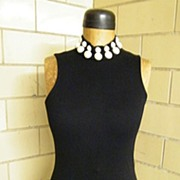 1980's Black Contour Dress & Bolero With LARGE Faux Pearl Trim..Andrea Jovine..Excellent Condi