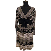 Adrianna Papell Fit & Flair..Rachel Knit Empire Waist Dress..Black & White With Silver Metalli