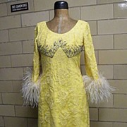 SALE Vintage Designer AUNTIE MAME Yellow Lace & Marabou Gown..Dramatic!!