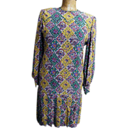 Aurora Ruffolo Eastern Paisley Tile Print Silk Crepe Drop Waist Dress With Pleat Accent.. ...