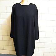 ELLEN TRACY...Black Crepe Shift Style Dress ..Jewel Neck With Rhinestone Trim..Long Sleeves. .