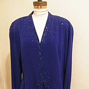 SALE Daymor Of Canada...Blue Rayon Formal Dress With Beads...Size 18..Excellent Condition