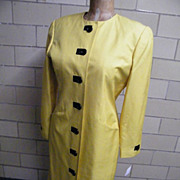 Chartruise Silk Shantung Fitted Coat Dress..Size 10..1980's