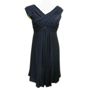 SALE Adele Simpson Sheer Navy Silk Crepe Draped Front Cocktail / Formal Dress..Late 60's-Early