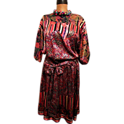 Diane Fres Crinkle Satin Fabric Mix Of 3 Prints....Polyester Georgette Gypsy Dress..Hong Kong