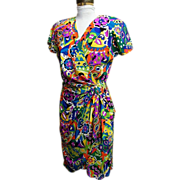 SOLD Silk Dress...Emilio Pucci Like Print..Pat Argenti..1980's..Size 4..Excellent Condition!