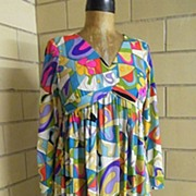 "SALE 1960's Emilio Pucci style Abstract Print Dress ..""V"" Neck..Empire Waist..Long F"