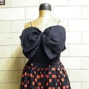 BILL BLASS III..Summer Evening Dress..Spaghetti ..Large Linen Black Bow Bodice & Black With Re
