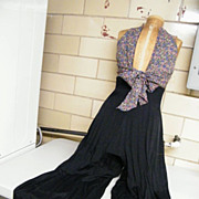 HALTER DRESS & PALAZZO PANTS..Rayon & Acetate..Small Floral Print Bodice & Black Flowing Pants