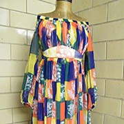 1960's Elegant Summer / Cruise Long Chiffon Block Printed Dress ..Off The Shoulder..Empire Wai