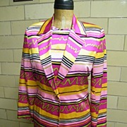 1980'S ..3 Piece..BRIGHT.. Abstract Striped Silk Suit..Mary Ann Restivo..Hong Kong..NEW With T