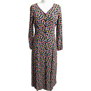 Maxi Dress..Betsey Johnson..Small Liberty Style Floral On Black Ground..Rayon Crepe..Size Medi