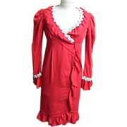 Red Wool Crepe Wrap Dress..Paige Morton Black..Chock Full o'Nuts Jingle Gal
