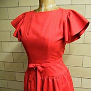 DESIGNER Specialty Store..Mary Jane Denzer..Red 1970's's Dropped Waist Linen-Like Dress ...