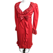 Red Wrap Wool Dress From Estate Of Paige Morton Black..Chock Full o'Nuts Jingle..1960's