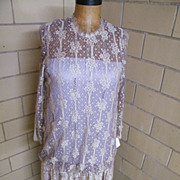 Rita diMontella..Designer Lace & Beaded Formal / Evening Dress..Beige With Mauve Lining..Size