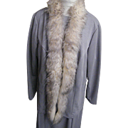 Extra Large Sized Women's Gray Slub Polyester Double Knit Dress / Jacket With Dyed American ..