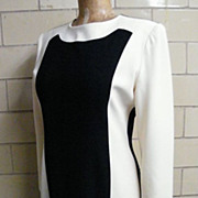 Tuxedo Black/White Color Block Dress..Long Sleeves..Bill Blass..Size 12
