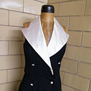 Black Tuxedo Halter Dress .. En Francais..By Huey Waltzer..Size 12..UK 14..Germany 40