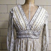 Vintage 1960's YOUTH GUILD Clear Rhinestone Novelty Beaded Dress..Gold Satin Lining..Work Of .