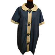 Duster..Housecoat..Loungewear..Blue Tonal With Strawberry Accents..Percale..NOS..Size 44..USA.