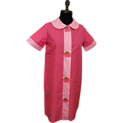 1950's Duster / Housecoat / Loungewear...Pink On Pink With Strawberry Applique On Snaps..NOS..