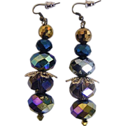 """AB Mixed Crystal Beads..Browns To Navy..Drop / Dangle Earrings...2.5"""" Drop"""
