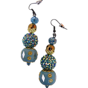 Earrings...Drop...Turquoise Mix Bead...Enamel With Gold-Tone Filigree, AB Bead Cluster, & Glas