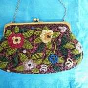 Hand Beaded Floral Evening Bag / Purse Japan..White..Turquoise..Gold Flowers & Green Leaves On