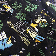 Vintage 1950's Paris Print Cotton Fabric On Black Ground..Interesting