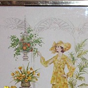 Chrome Framed Coby Fashion Print Garden Party Yellow Print Dress