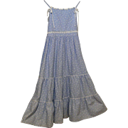 Girl's Sundress Size 10..Blue Cotton Linen Printed..Scattered Little White Hearts On Blue ...
