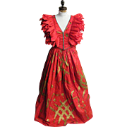 FABRICE Couture Ball Gown..2 Piece..Silk Taffeta..Medium Red..Gold Stroke Print..Small. ...