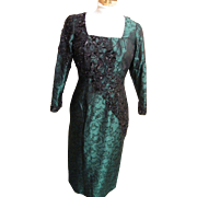 Green & Black Beaded Silk Brocade Sheath  Gown By Custom Stagewear Couture Designer Lorraine .