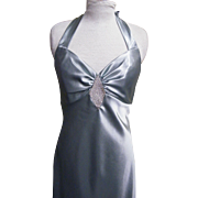 Halter Top Gown Bridesmaid Dress With Clear Rhinestone Diamond Applique Between The Breasts Co