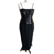 Stylized Tuxedo Gown / Jacket..Black..Buggle Beads..Crepe..Daymor Couture..Size 6..Excellent .