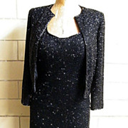 LILLIE RUBIN..Black Bugle Beaded On Silk  Halter Gown & Jacket..Extra Small..Excellent Conditi