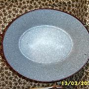 Antique German...European Graniteware..Enamelware Large Tub..Brown Outside