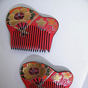 Japanese Hair Ornaments / Combs..Hand Painted & Carved Lucite..Floral..Red With Black Back..19