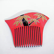 Japanese Hair Ornament / Side Comb..Hand Painted..Lucite..NOS..1970's-80's..4 Available