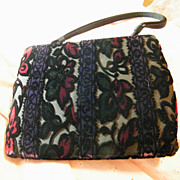 SALE PENDING Vintage..MEYERS..Cut Velvet Evening Purse..Wallpaper Floral..Very Dark Colors..NE