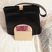 1950's Dofan Leather Handbag..Gold-Tone Clasp..Mirror & Case..Excellent Condition!