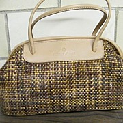 Etienne Aigner..Satchel.. Handbag / Purse...Hand Woven TWEED Look Fabric With Tan Trim..New Co