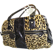 Anne Klein Faux Leopard Pony Skin Handbag...With Embossed Brown Croc Leather Trim..3 Sections