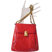 Prestige...Red Patent Leather Purse Wirh Convertible Gold Tone Link Chain...Excellent Conditio