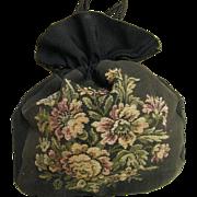 Very Vintage Black Silk,  Canvas & Faille  Drawstring Handbag With Large Multicolor Floral Pat